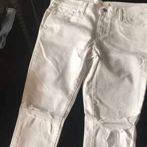 White, ripped skinny jeans from Calvin Klein. Never worn great quality